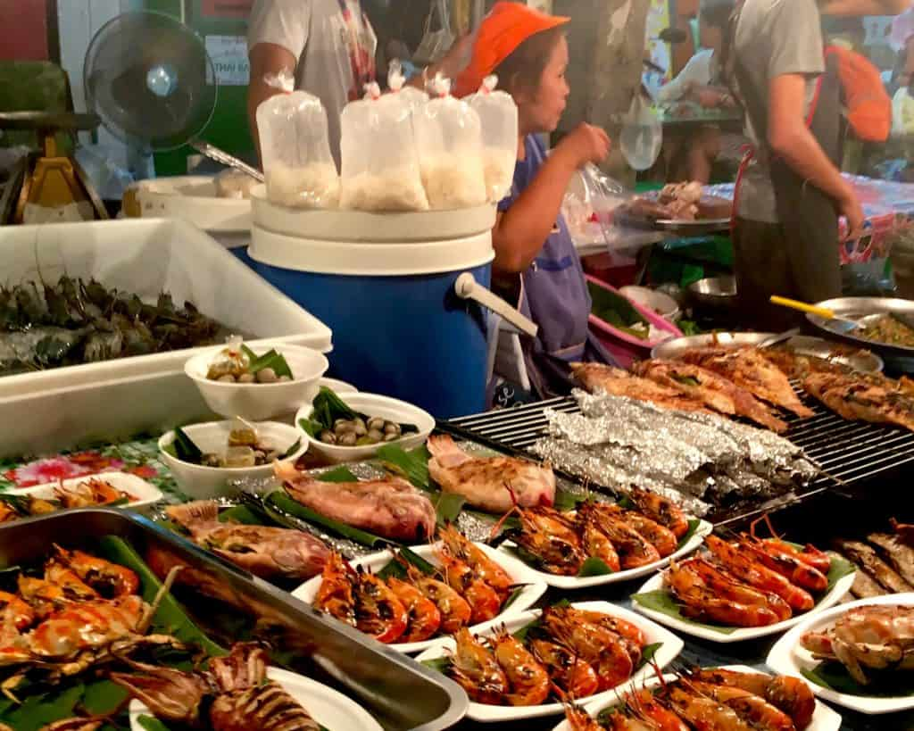 Night market stall displaying seafood in Chaing Mai, Thailand